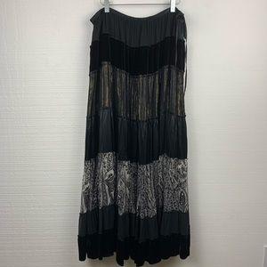 BCBGMAXAZRIA Black Boho Silk Blend Maxi Skirt